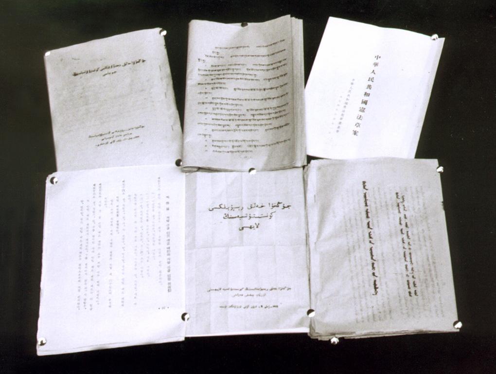 1954年,民族出版社将宪法草案译成五种文字