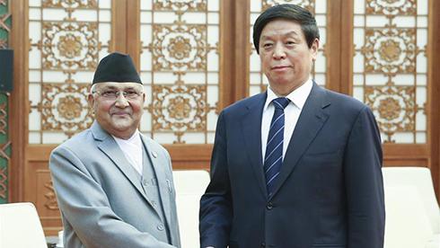栗战书会见尼泊尔总理奥利